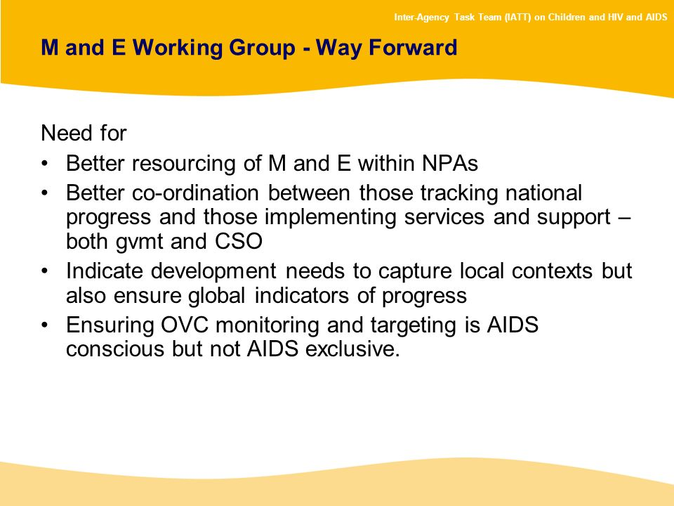 M and E Working Group - Way Forward