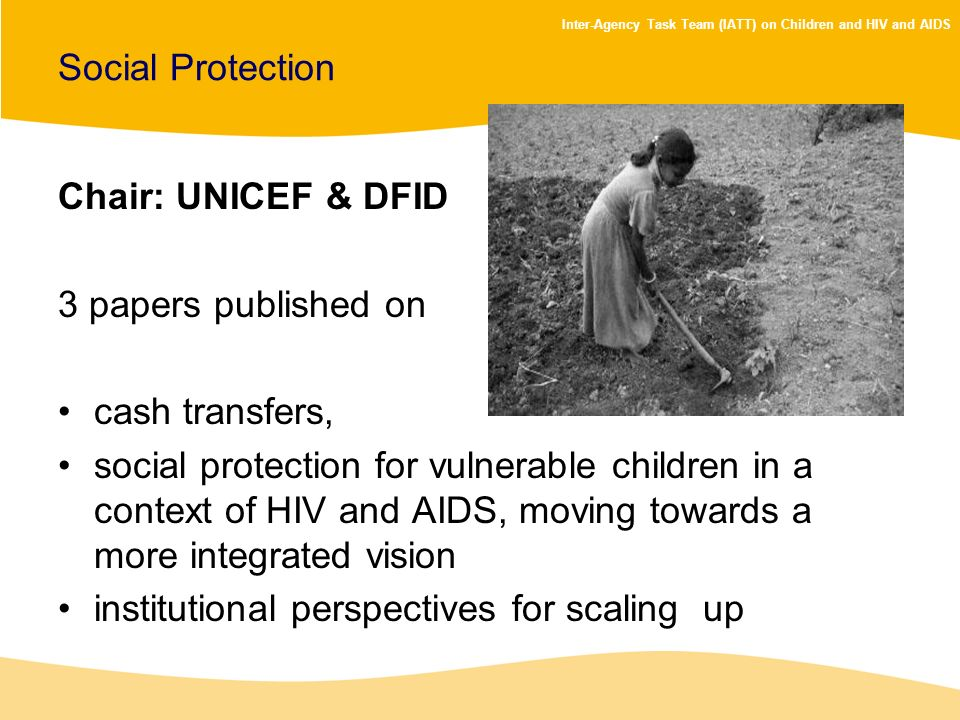 Social Protection Chair: UNICEF & DFID. 3 papers published on. cash transfers,