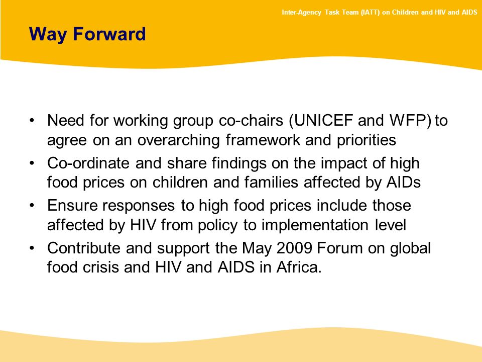 Way Forward Need for working group co-chairs (UNICEF and WFP) to agree on an overarching framework and priorities.