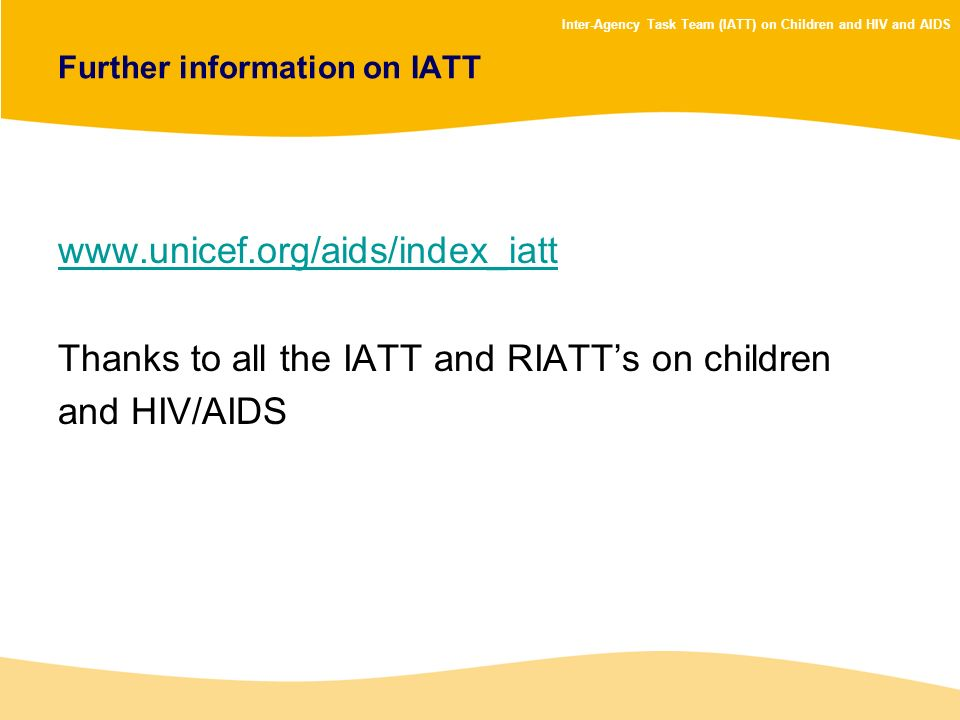 Further information on IATT