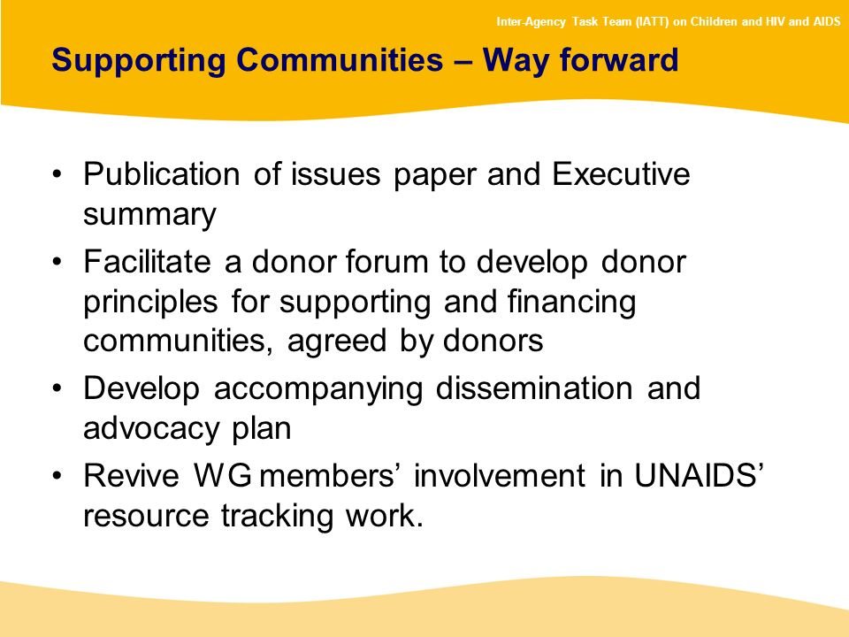 Supporting Communities – Way forward
