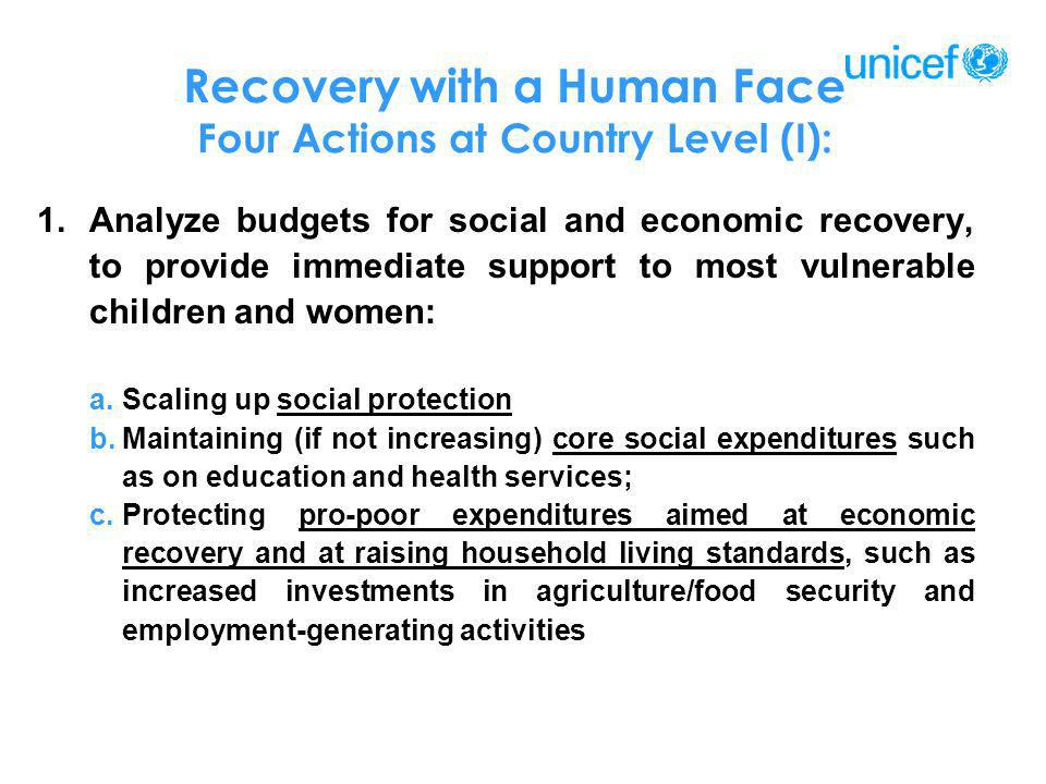 Recovery with a Human Face Four Actions at Country Level (I):