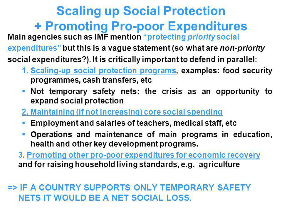 Scaling up Social Protection + Promoting Pro-poor Expenditures