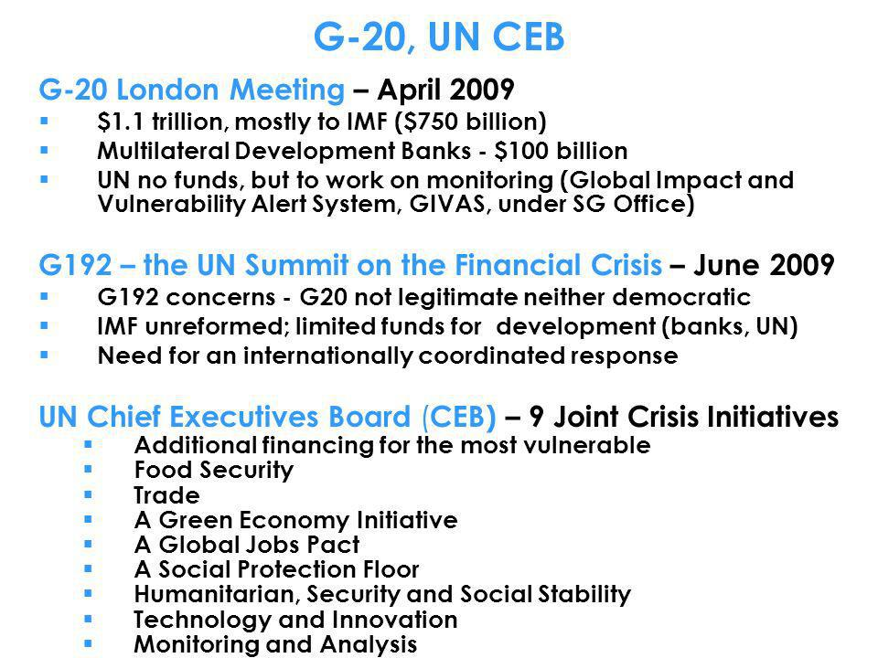 G-20, UN CEB G-20 London Meeting – April 2009