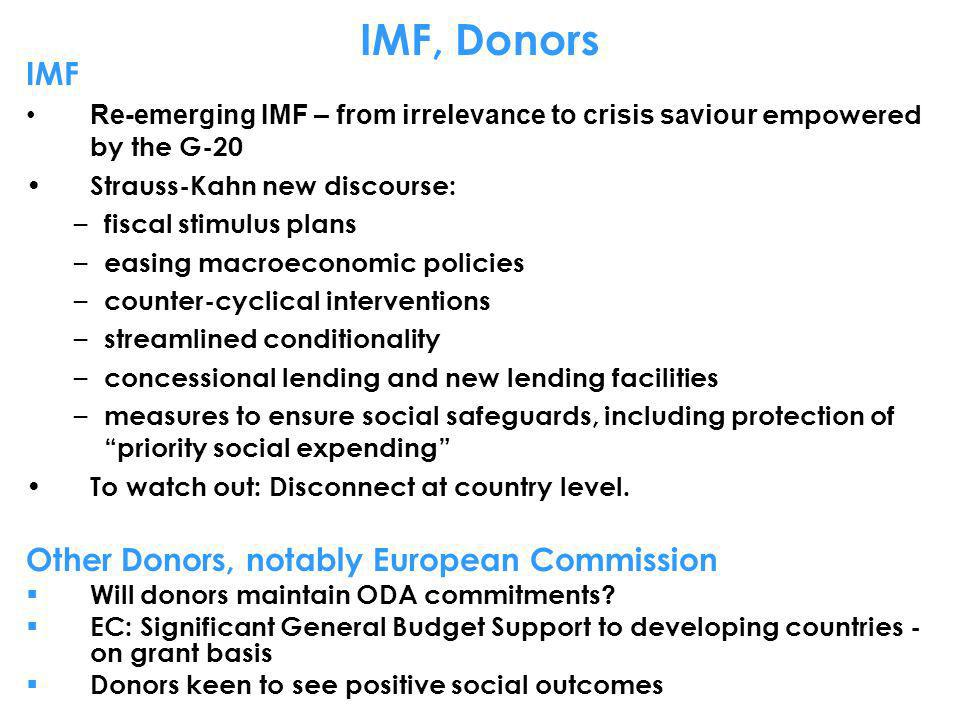 IMF, Donors IMF Other Donors, notably European Commission