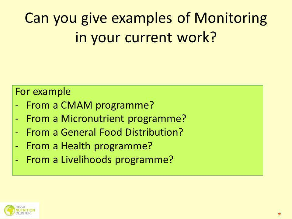 Can you give examples of Monitoring in your current work