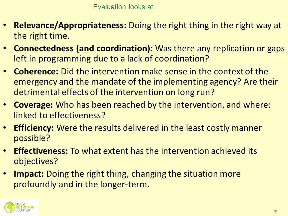 Evaluation looks at Relevance/Appropriateness: Doing the right thing in the right way at the right time.