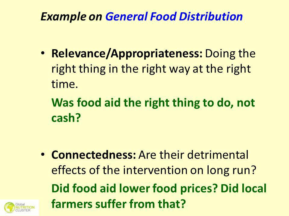 Example on General Food Distribution