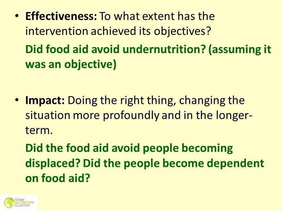 Did food aid avoid undernutrition (assuming it was an objective)