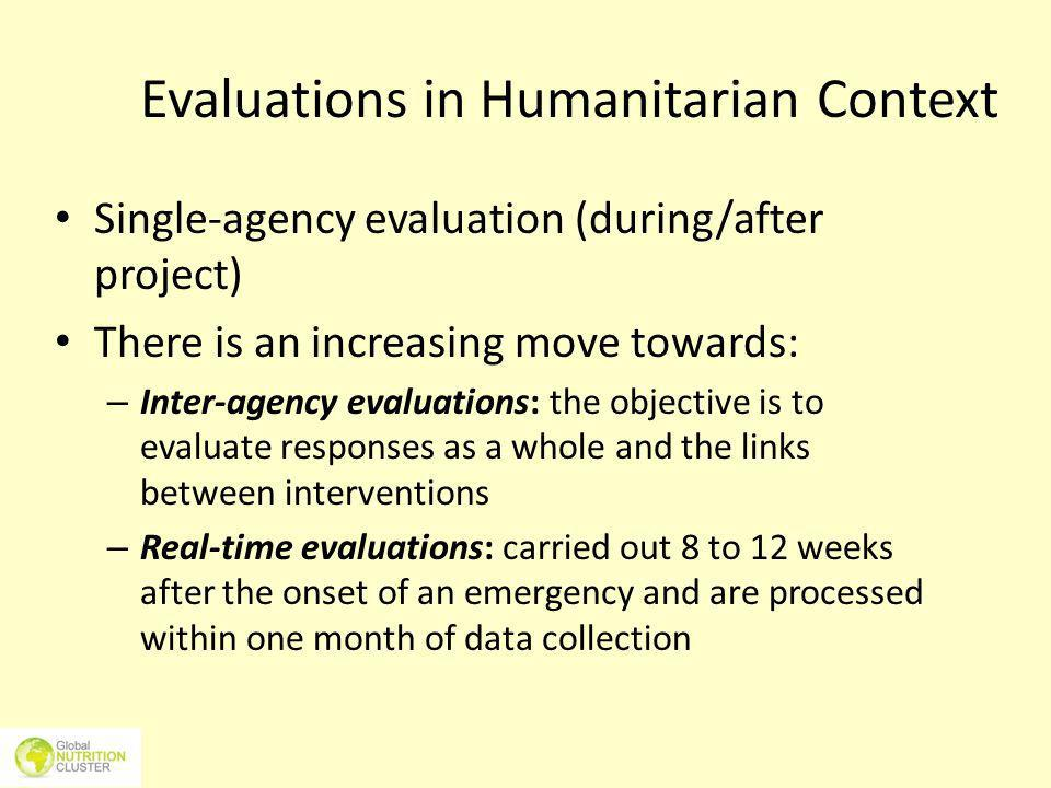 Evaluations in Humanitarian Context