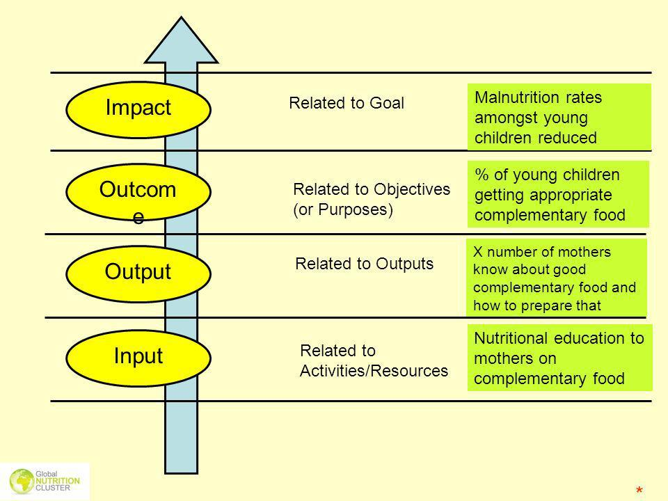 Impact Outcome Output Input * Malnutrition rates amongst young