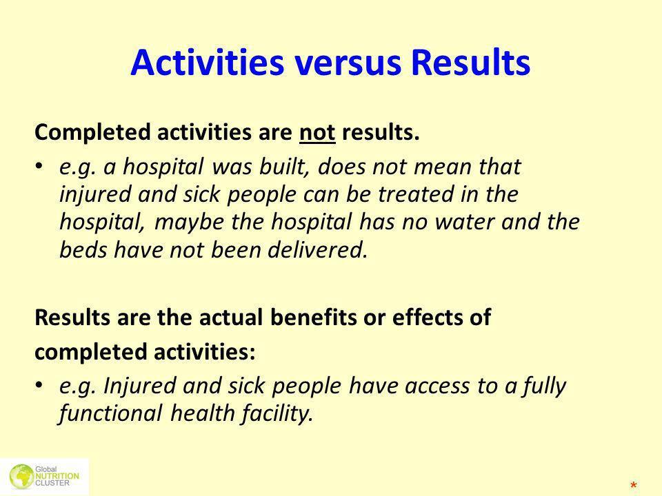 Activities versus Results