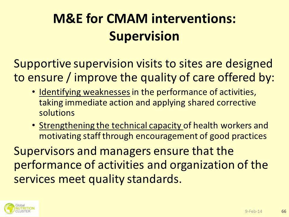 M&E for CMAM interventions: Supervision