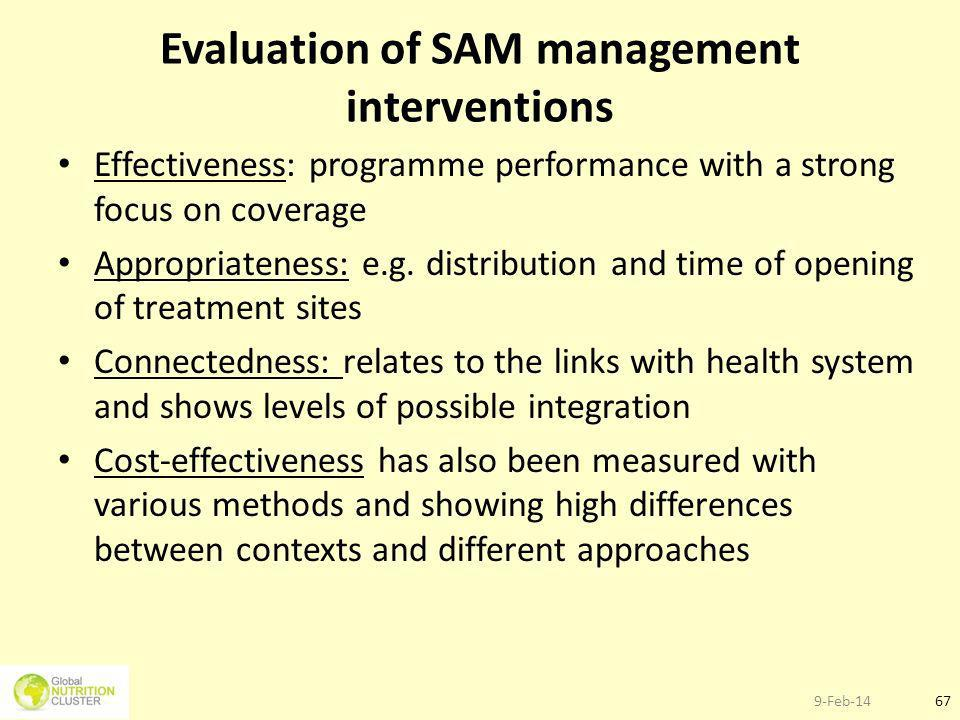 Evaluation of SAM management interventions
