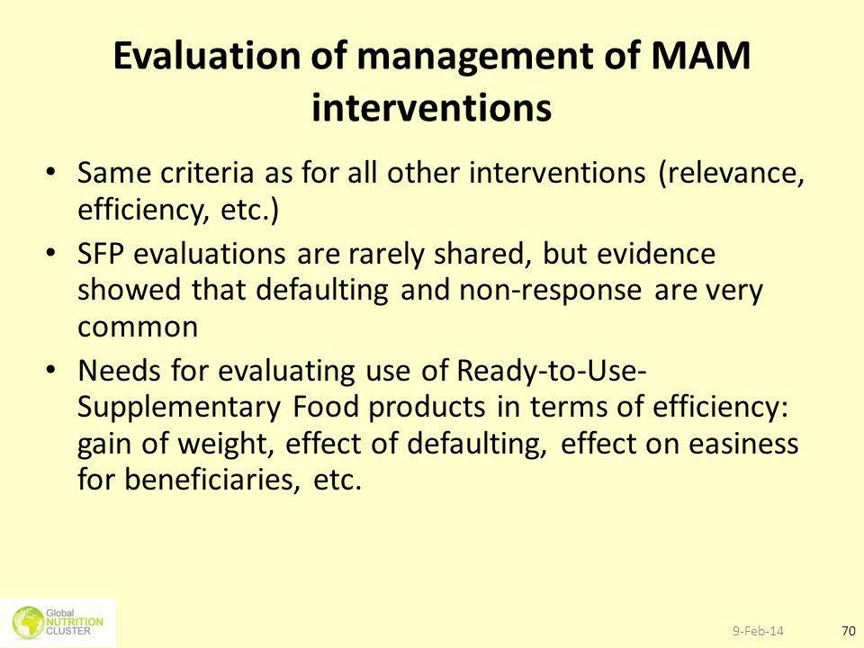 Evaluation of management of MAM interventions