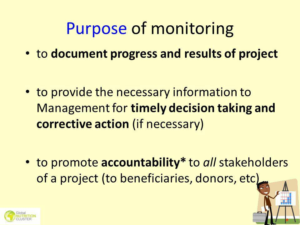Purpose of monitoring to document progress and results of project