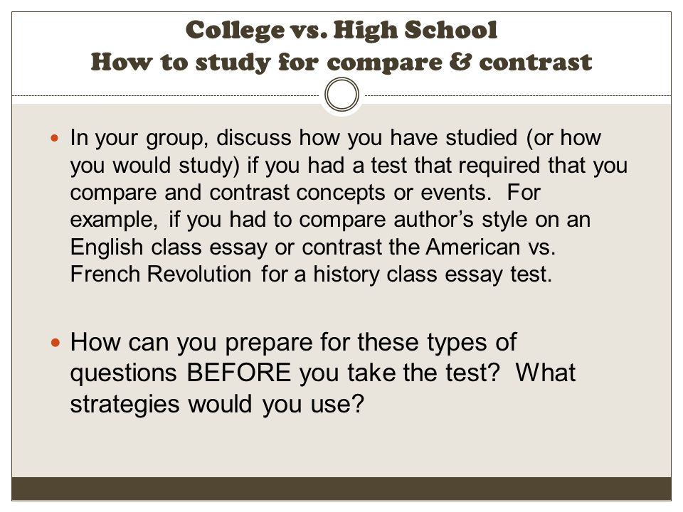 Cause Effect Essay Examples  College Vs High School How To Study For Compare  Contrast Apa Essay Papers also Examples Of Essays In Apa Format U Learning To Learn  Strategies For Success In College  Ppt  Marketing Essays