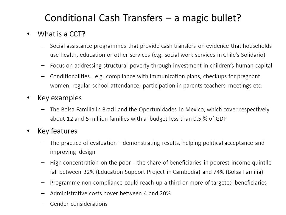 Conditional Cash Transfers – a magic bullet