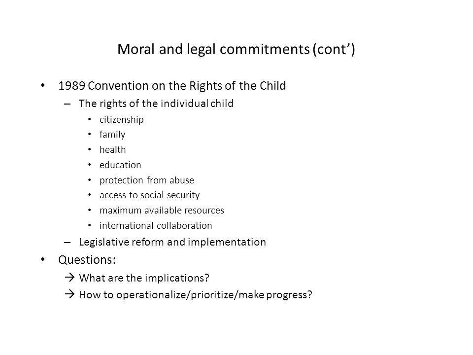 Moral and legal commitments (cont')