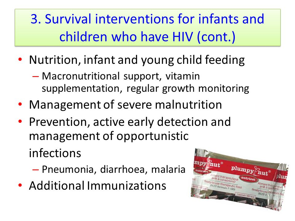3. Survival interventions for infants and children who have HIV (cont