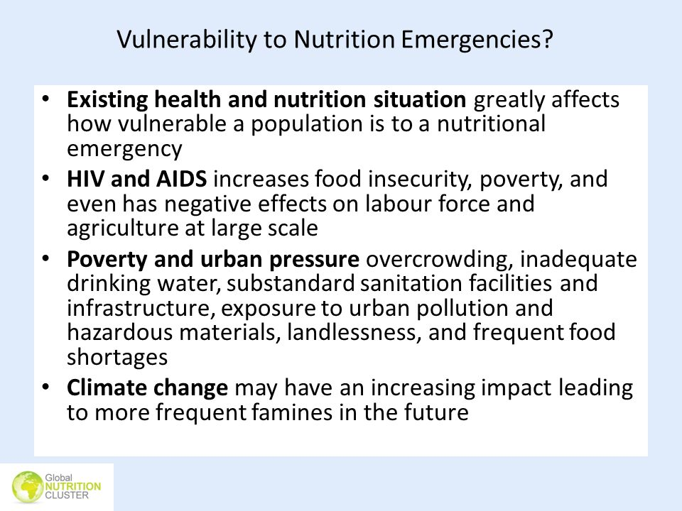 Vulnerability to Nutrition Emergencies