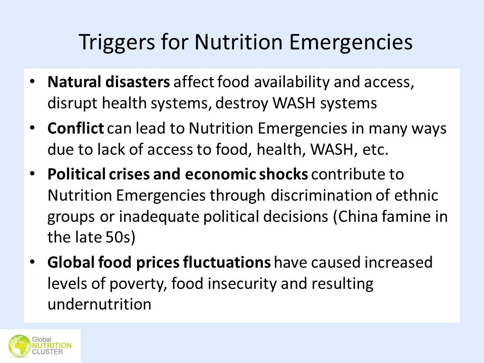 Triggers for Nutrition Emergencies