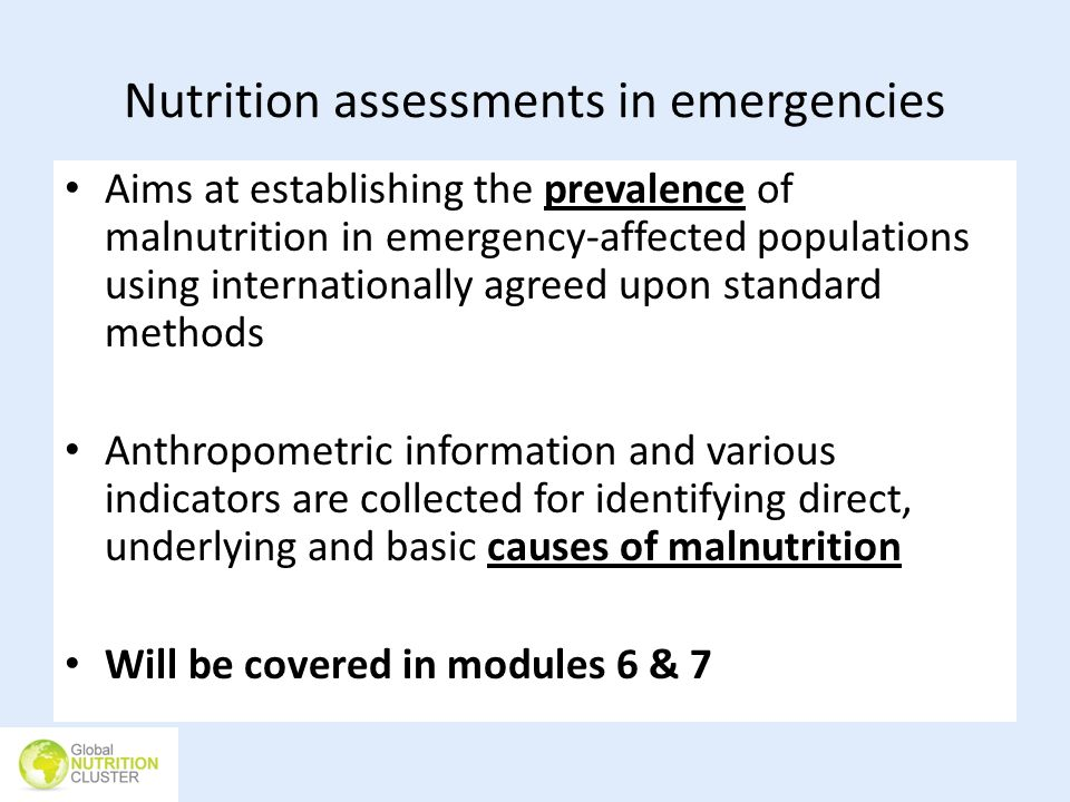 Nutrition assessments in emergencies