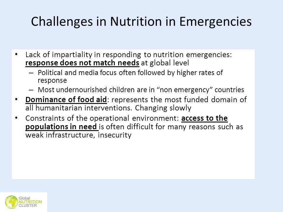 Challenges in Nutrition in Emergencies