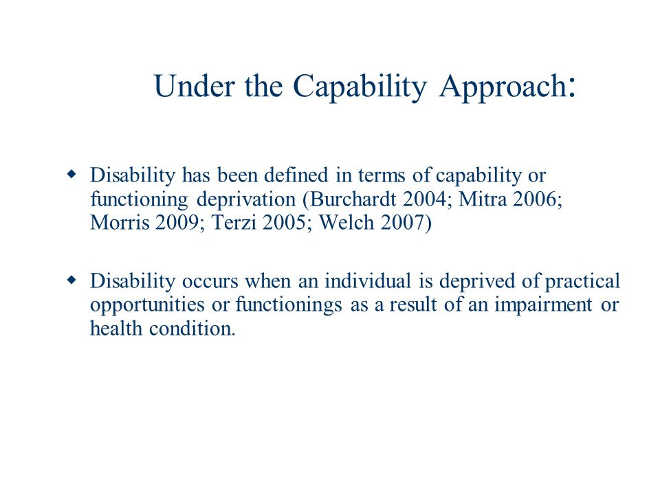 Under the Capability Approach: