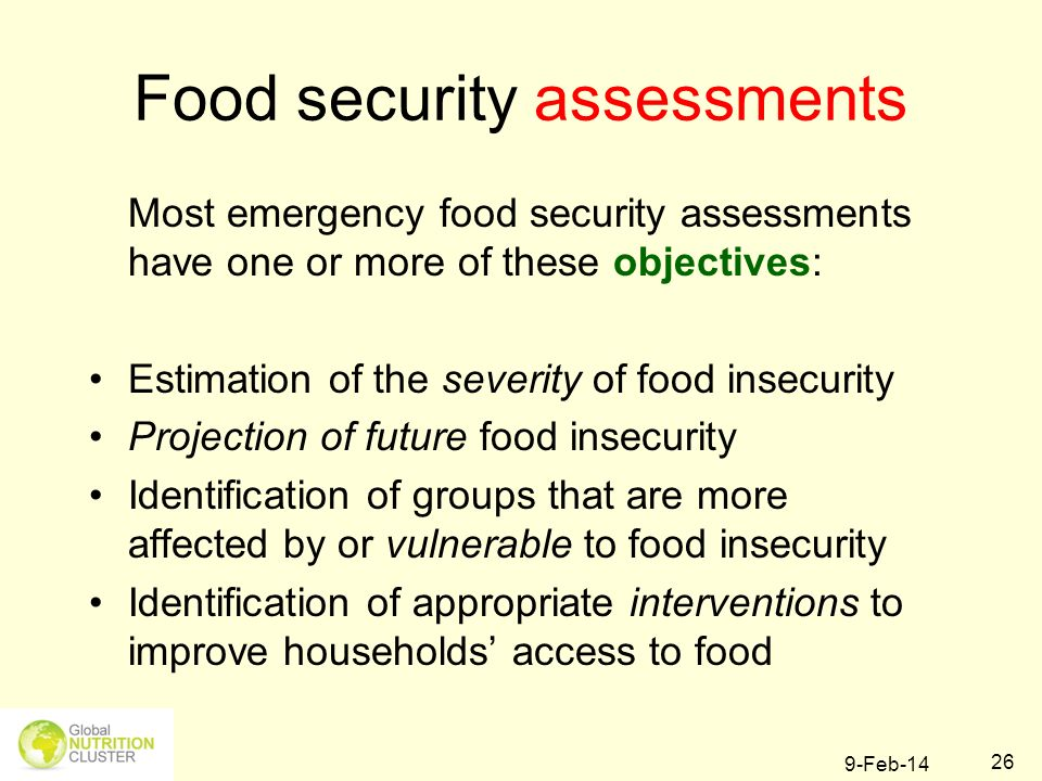 Food security assessments