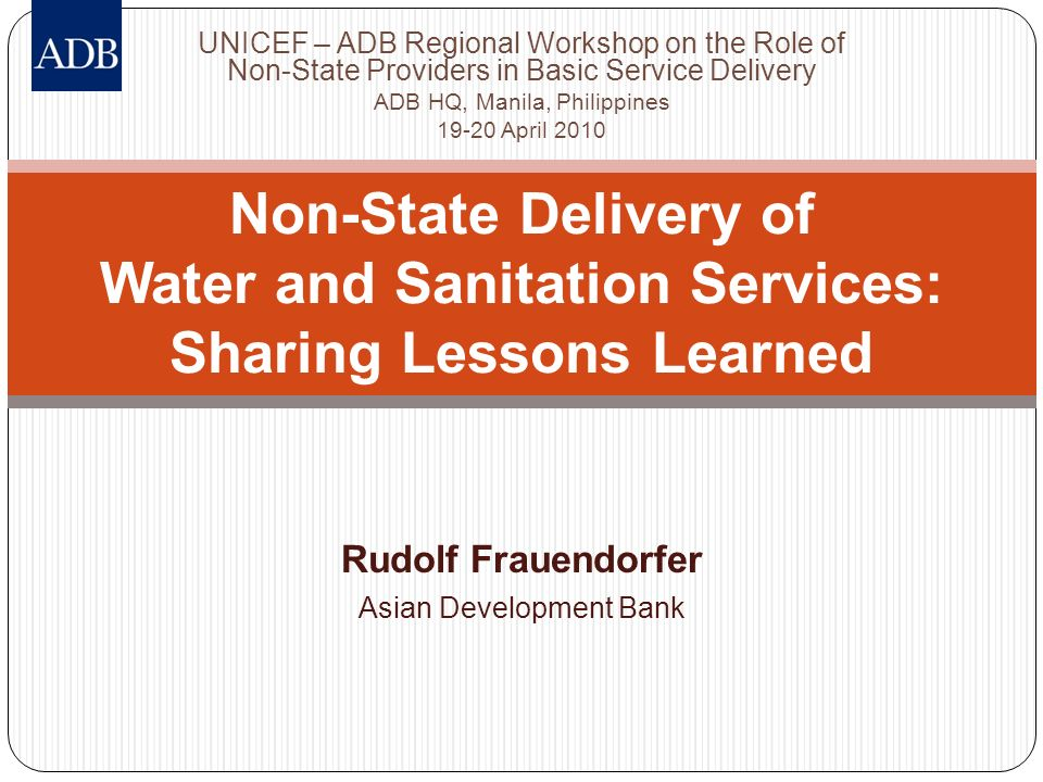 Rudolf Frauendorfer Asian Development Bank