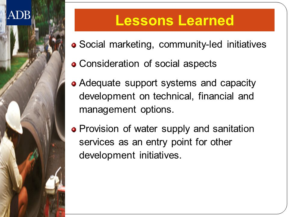 Lessons Learned Social marketing, community-led initiatives