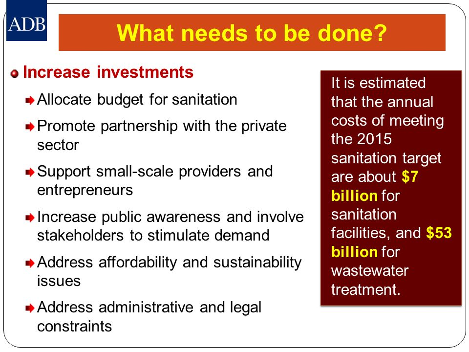 What needs to be done Increase investments