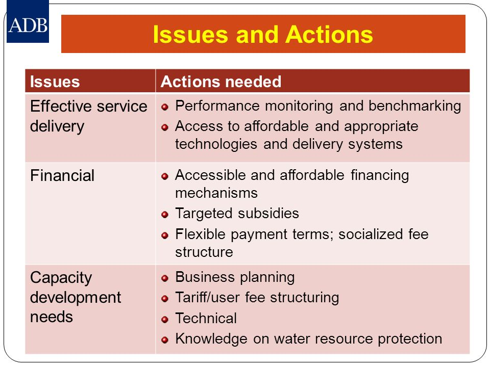 Issues and Actions Issues Actions needed Effective service delivery