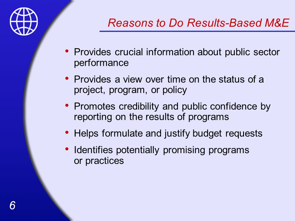 Reasons to Do Results-Based M&E