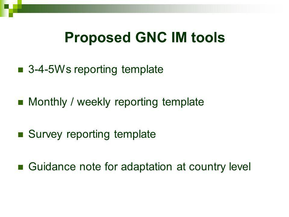 Proposed GNC IM tools 3-4-5Ws reporting template