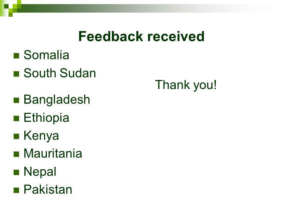 Feedback received Somalia South Sudan Bangladesh Ethiopia Kenya