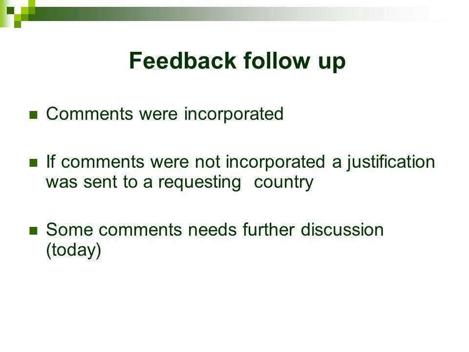 Feedback follow up Comments were incorporated