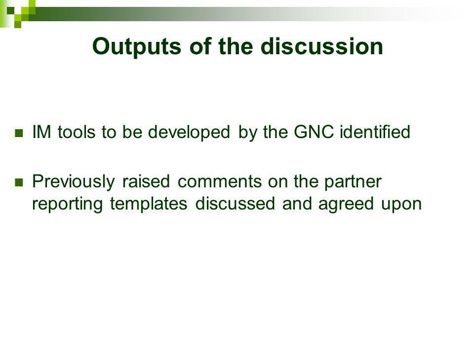 Outputs of the discussion