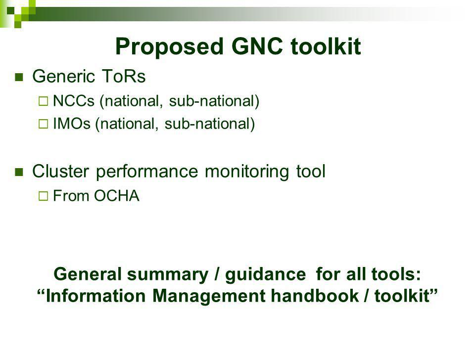 Proposed GNC toolkit Generic ToRs Cluster performance monitoring tool