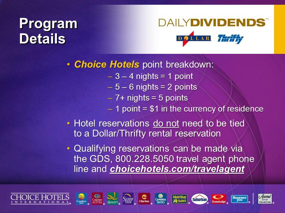 Program Details Choice Hotels Point Breakdown