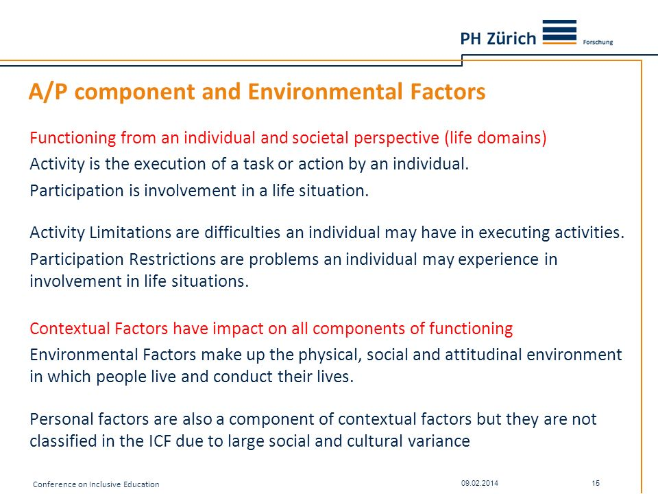 A/P component and Environmental Factors
