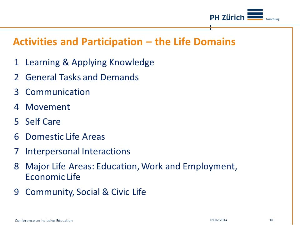 Activities and Participation – the Life Domains