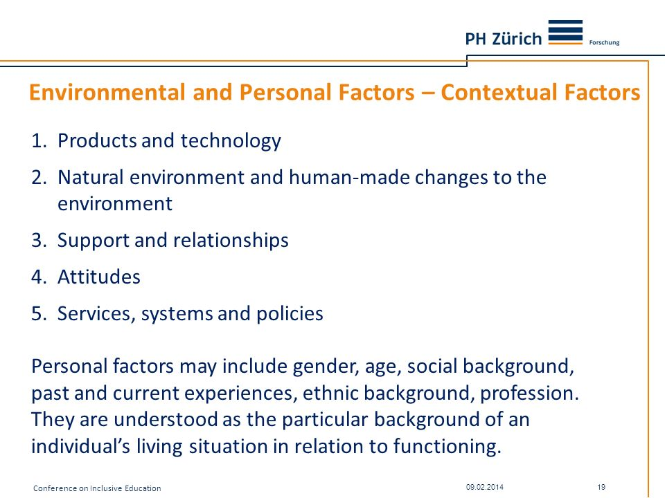 Environmental and Personal Factors – Contextual Factors