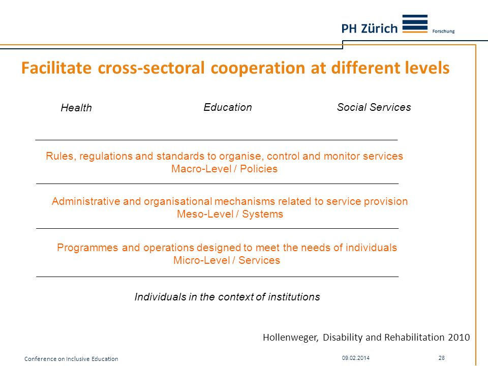 Facilitate cross-sectoral cooperation at different levels