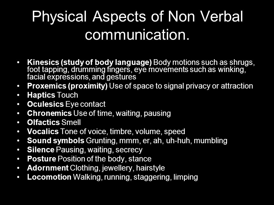 communication verbal non verbal aspects The study of clothing and other objects as a means of non-verbal communication is known nuances across different aspects of nonverbal communication can be found.