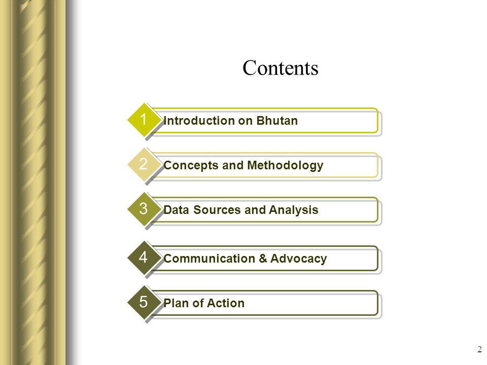 Contents 1 2 3 4 5 Introduction on Bhutan Concepts and Methodology