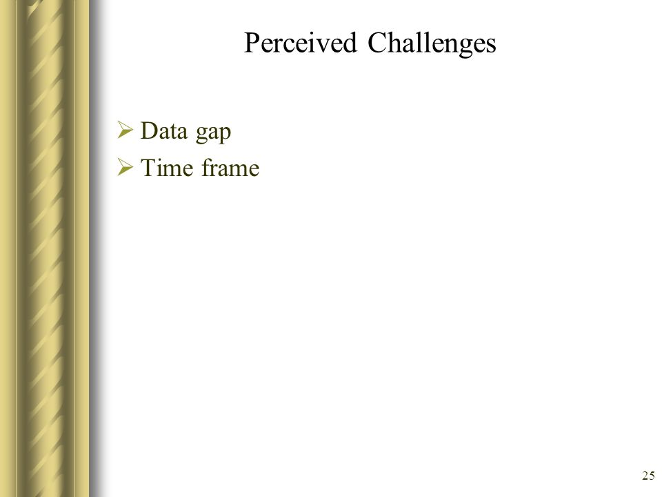 Perceived Challenges Data gap Time frame