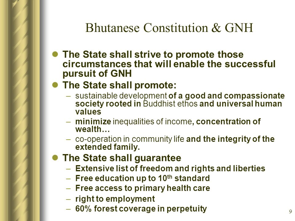 Bhutanese Constitution & GNH