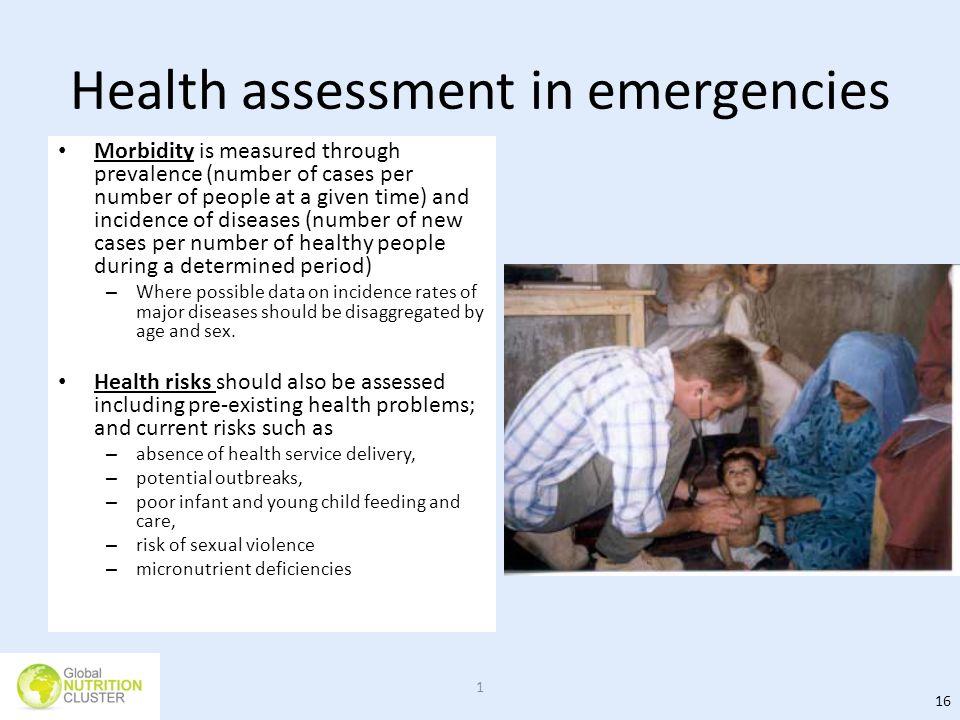 Health assessment in emergencies